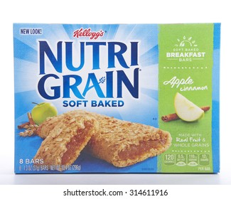 ALAMEDA, CA - SEPTEMBER 08, 2015: 10.4 ounce box of Kellogg's brand Nutrigrain Soft Baked Breakfast Bars. Made with Real Fruit and Whole Grains. Naturally and artificially flavored. Apple