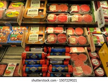 Alameda, CA - September 17, 2019: Grocery store meat display with ground beef in various packagings and beyond burger vegetarian meat substitute.