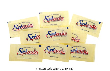 Alameda, CA - September 18, 2017: Packets of Splenda artificial sweetener, isolated on white background. Produced by Heartland Food Products Group, an American company.