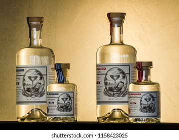 Alameda, California - July 17, 2018: colorful bottles of vodka on lighted shelf.