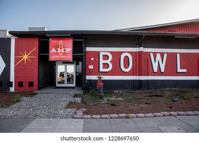 ALAMEDA, CALIFORNIA, USA - JUNE 208: Black and red facade of bowling alley