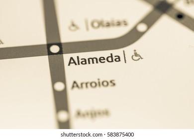 Alameda Station. Lisbon Metro map.