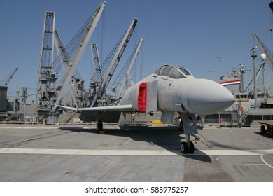 ALAMEDA, USA - MARCH 23, 2010: F-4 Phantom fighter, Museum aircraft carrier Hornet (CV-12) anchored in Alameda, San Francisco Bay, USA on March 23, 2010.