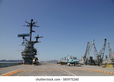 ALAMEDA, USA - MARCH 23, 2010: flight deck, Museum aircraft carrier Hornet (CV-12) anchored in Alameda, San Francisco Bay, USA on March 23, 2010.