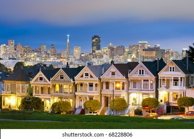 Alamo Square at twilight with clouds in the sky, San Francisco.