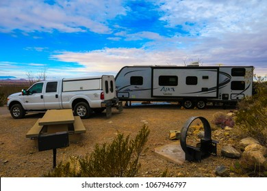 Alamogordo, New Mexico/ USA-02/25/2018: Skies start clearing up above the Oliver Lee Campground in New Mexico for the traveling group RVLIKEMIDGLEY.