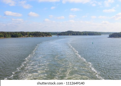 Aland archipelago view from ship at summer day