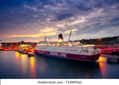ALAND ISLANDS, FINLAND - MAY 20, 2016: Early morning in the port of Marienhamn, ferry Viking Line Rosella. Aland
