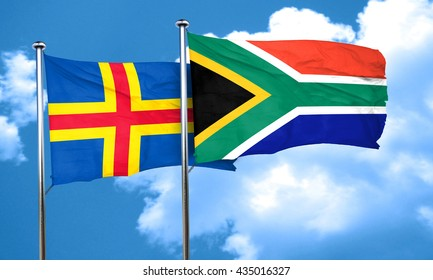 aland islands with South Africa flag, 3D rendering