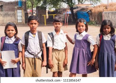 Alangaon Amravati Maharashtra India  Unidentified Happy Rural School Student