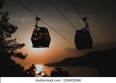 Alanya cable car, sunset alanya, reverse light sunset,