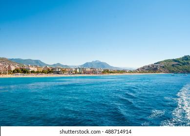 Alanya city and beach of Cleopatra, Turkey.