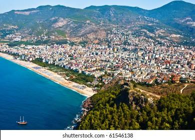Alanya city hill, sea coast, Turkey
