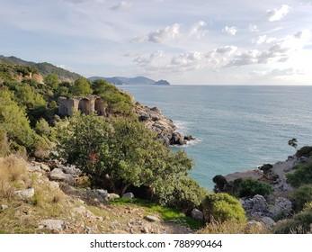 Alanya city rocks sea and mountains