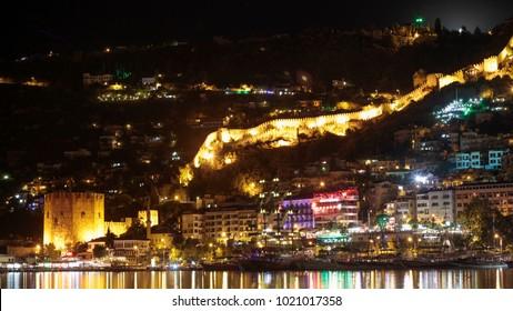 Alanya Cityscape At Night, Turkey