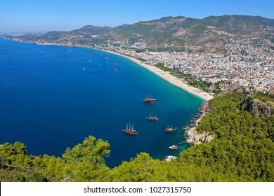 Alanya Cleopatra Beach and Marina view from Alanya Castle in Antalya, Turkey.