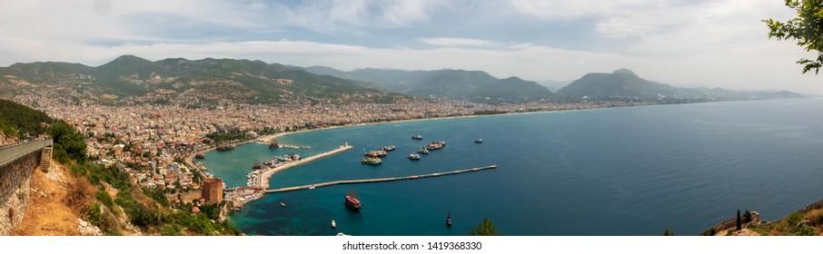 Alanya harbor panorama. View from Alanya Castle. Alanya, Antalya, Turkey
