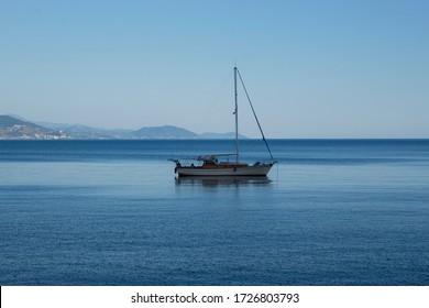 Alanya harbor sea and sailing boats on the beach