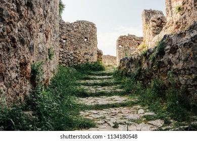 Alanya Kalesi. Brick ancient castle wall. Alanya, Turkey. Wonderful country. Ruins of the fortress of Alanya. Brick road