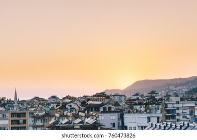 Alanya with sea in summer sunset time