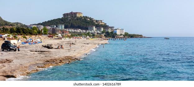 Alanya, Turkey - April 25, 2014: Typical beach in Turkey near Alanya with many hotels.