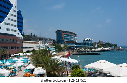ALANYA, TURKEY - JULY 14, 2013: A general view of the hotel Vikingen Quality Resort. Hotel has 450 rooms and 13,000 square meters area