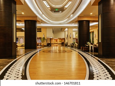 ALANYA, TURKEY - JULY 14: Hall of the hotel Vikingen Quality Resort. Hotel has 450 rooms and 13,000 square meters area on July 14, 2013 in Alanya, Turkey