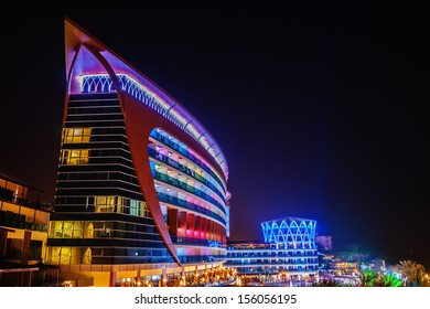 ALANYA, TURKEY - JULY 14: Night view of the hotel Granada Luxury Resort. Hotel has 598 rooms and 13,000 square meters area on July 14, 2013 in Alanya, Turkey