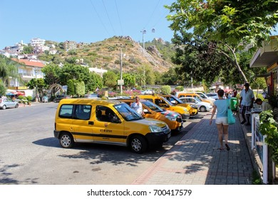 Alanya, Turkey, July 2017: city taxi - cars of yellow color.