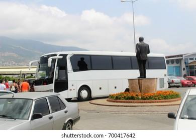 Alanya, Turkey, July 2017: tourist buses near the sights.