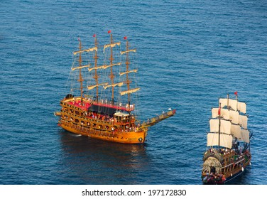 ALANYA -TURKEY - MAY 29: Pirate ship on the water of Mediteranean Sea in Alanya on 29 May 2014. Ship traveling around Alanya