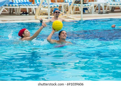 Alanya, Turkey - May,10, 2017: Two women are fighting for the ball in water polo.