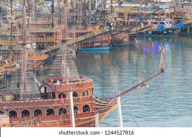 ALANYA, TURKEY - November 11.2018; Alanya downtown touristic pirate boat port. One of the main tourist attractions and points of interest in the area.