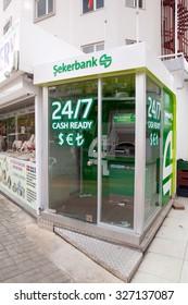 Alanya, Turkey - October 08, 2015: The cash machine of SekerBank  in Alanya.