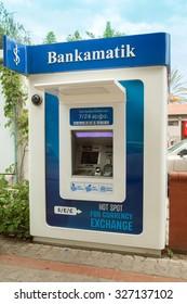 Alanya, Turkey - October 08, 2015: The cash machine in Alanya.