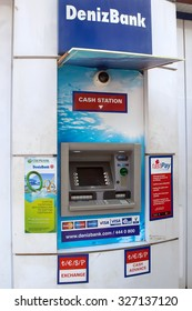 Alanya, Turkey - October 08, 2015: The ATM of DenizBank in Alanya. DenizBank is a member of Russian Sberbank Group.