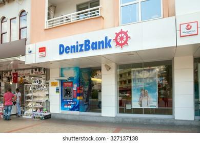 Alanya, Turkey - October 08, 2015: The branch of DenizBank in Alanya. DenizBank is a member of Russian Sberbank Group.
