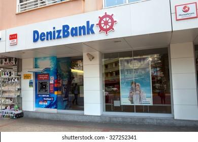 Alanya, Turkey - October 08, 2015: The office of DenizBank in Alanya. DenizBank is a member of Russian Sberbank Group.