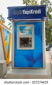 Alanya, Turkey - October 08, 2015: The ATM of Yapi Kredi Bank in Alanya. Yap? Kredi is one of the first nationwide private banks in Turkey.