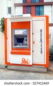 Alanya, Turkey - October 08, 2015: The ATM ING Bank  in Alanya. The ING Group is a Dutch multinational banking and financial services corporation headquartered in Amsterdam