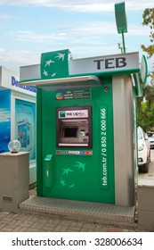 Alanya, Turkey - October 08, 2015: The ATM TEB Bank  in Alanya. Turkish Economy Bank was founded in 1927