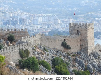 Alanya/Antalya/ Turkey - September 08 2018 : Castle of Alanya ; New and old face of Alanya Together