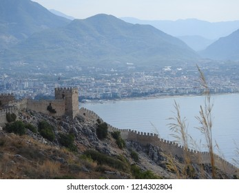 Alanya/Antalya/ Turkey - September 08 2018 : Castle of Alanya in Front and New Alanya in Background