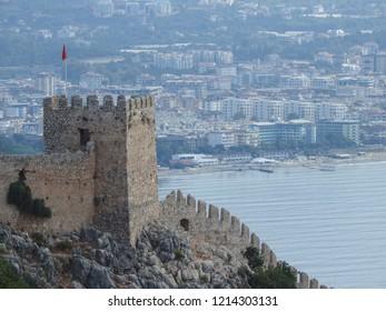 Alanya/Antalya/ Turkey - September 08 2018 : Castle of Alanya ; New and old Alanya Face to Face
