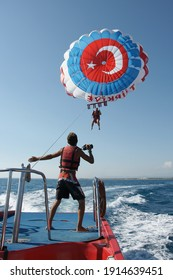 Alanya-Turkey-25.09.2020: Entertainment and attractions at the seaside resort. Paragliding.