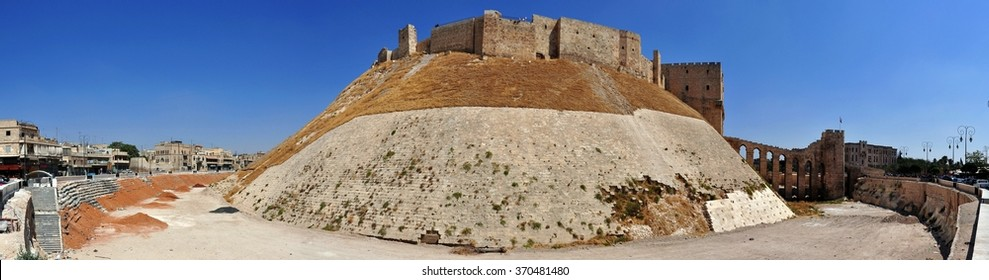 Alappo, Syria - October 10, 2010: Gate of the citadel in Alappo, Syria.