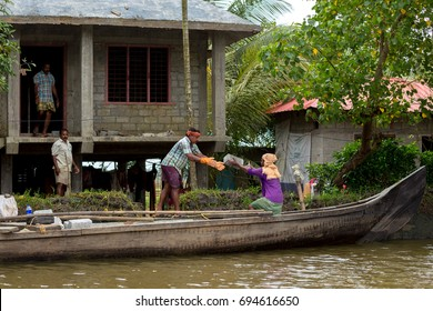 ALAPPUZHA BACKWATERS KERALA, INDIA - JULY 2017: Alappuzha or Allappey in Kerala is best known for houseboat cruises along the rustic Kerala backwaters, a network of tranquil canals and lagoons.