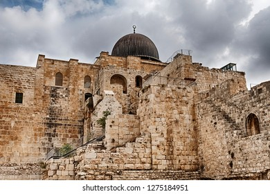 Al-Aqsa Mosque as seen brom outside the Temple Mount in the Old City of Jerusalem in Israel.