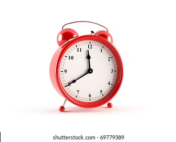 Alarm clock. 3D rendering of a stylish alarm clock isolated on white