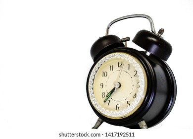 Alarm Clock in black traditional classic style on isolated white background for die cut as package design element and copy space. Abstract of concept teamwork  Discipline and punctual.